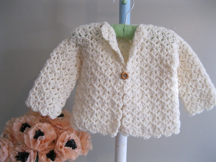 Crocheted Baby Sweater.....winter-white jacket
