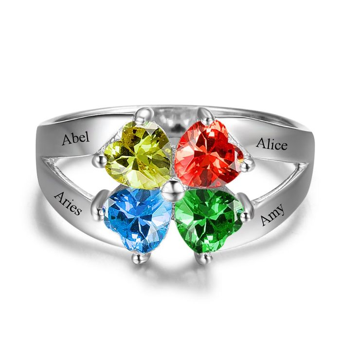 4 Gemstones Family & Friendship Ring - Personalize yours at www.belisdelights.com