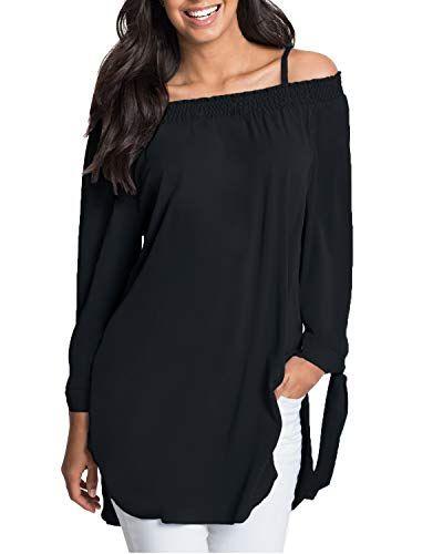 0c07299f54d2 ACHIOOWA Femme Tunique Mini Robe Col Bateau Manches Longues Epaule Nue  Casual Haut Tops Blouse Chemise