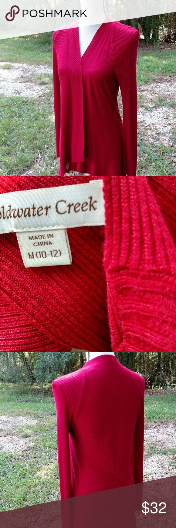 Coldwater Creek cardigan/open Come fly away.  Coldwater Creek open front  Like new condition.  Relaxed fit.  Beautiful cranberry red.  Size M (10-12).  Hits mid-hip.  Soft drape. Coldwater Creek Sweaters Cardigans