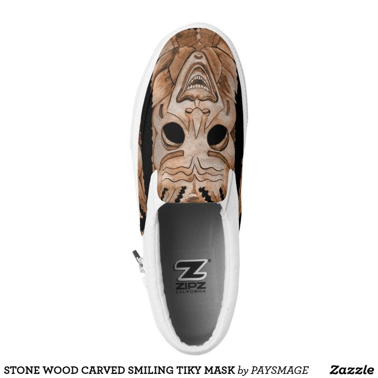 STONE WOOD CARVED SMILING TIKY MASK Slip-On SNEAKERS