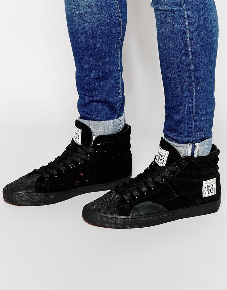 Stoffschuhe von Vision Streetwear aus Wildleder Schnürverschluss geformter, gepolsterter Schaft strukturierte, griffige Sohle