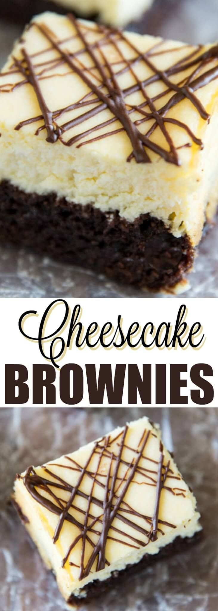 Delicious chocolate brownies topped with creamy cheesecake filling! Quite possibly the perfect dessert. You'll love how easy these Cheesecake Brownies are!