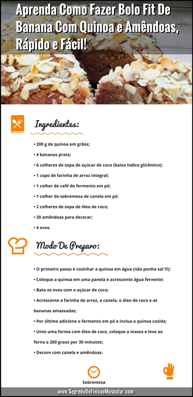 Receita De Bolo Fit De Banana Com Quinoa e Amêndoas  ➡ https://segredodefinicaomuscular.com/aprenda-como-fazer-bolo-fit-de-banana-com-quinoa-e-amendoas-rapido-e-facil/ Se gostar da receita compartilhe com seus amigos :) #receitasfit #EstiloDeVidaFitness