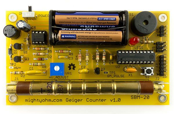 Commercial Geiger counters can cost hundreds of dollars. With this Geiger Counter Kit from the Maker Shed you can build your own at a fraction of the price! This easy to solder kit can be built in an evening and it works just like you think it would; clicking and blinking in the presence of radiation. Is grandma's dish collection radioactive? Do bananas give off radiation? Are your granite table tops giving off gamma rays? After you build your own Geiger Counter you'll be able to find out!