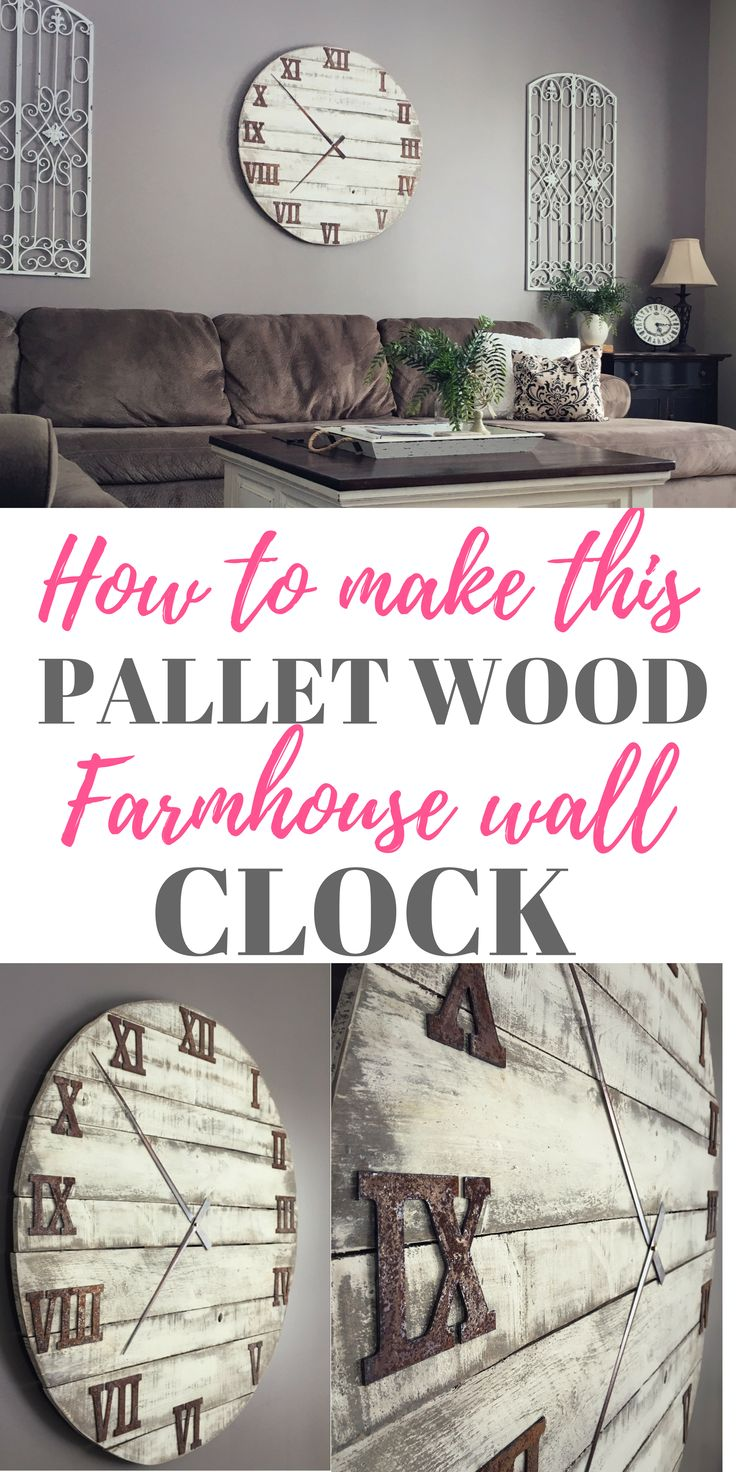Check out how I made my DIY Oversized Farmhouse Clock out of reclaimed pallet wo...