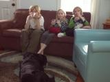 kids on couch at holiday cottage