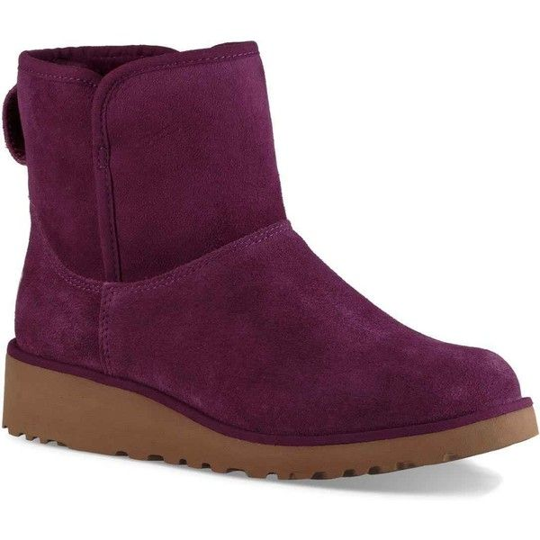 UGG Women's Kristin Purple Passion Boots (€100) ❤ liked on Polyvore featuring shoes, boots, ankle boots, purple, purple wedge shoes, lightweight boots, ugg boots, wedge ankle boots and wedge shoes