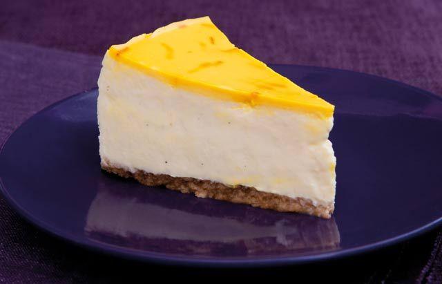 White chocolate, saffron and cardamom cheesecake