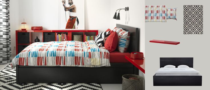 MALM black-brown bed with storage boxes and LAPPLJUNG RAND multicoloured quilt cover and pillowcases