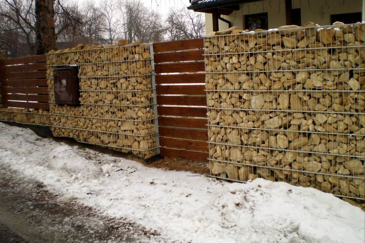 Gabion Fence Gabions Concrete And Stones Pinterest
