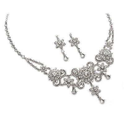 Antique Silver Vintage Swarovski Crystal Collar Bridal Jewelry Set