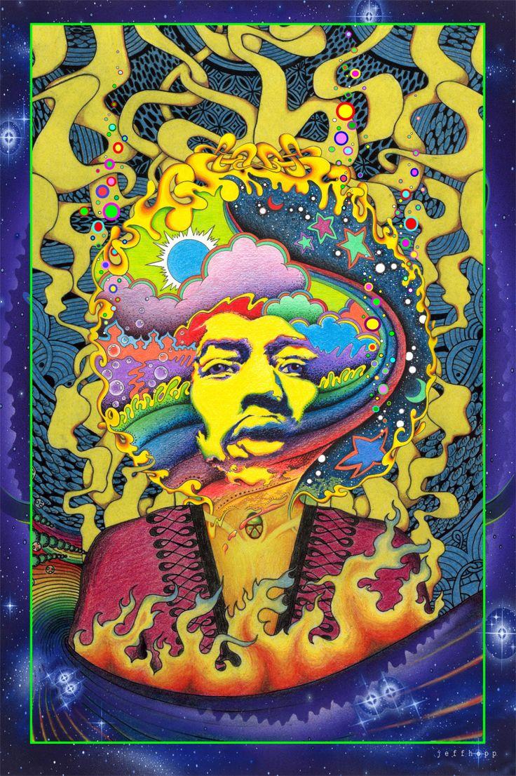 """Jimi Hendrix """"-The Black Sun""""- 1968 Original Black Light Serigraph ..."""