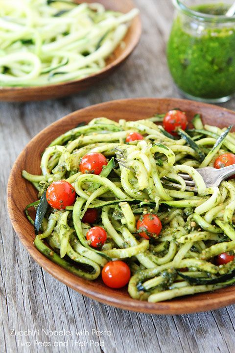 Easy Zucchini Noodles with Pesto on twopeasandtheirpod.com