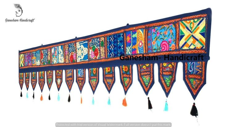 Indian Patchwork Window Wall Hanging Embroidery Bohemian Vintage Door Valance 80 #Handmade #Asian #Valance
