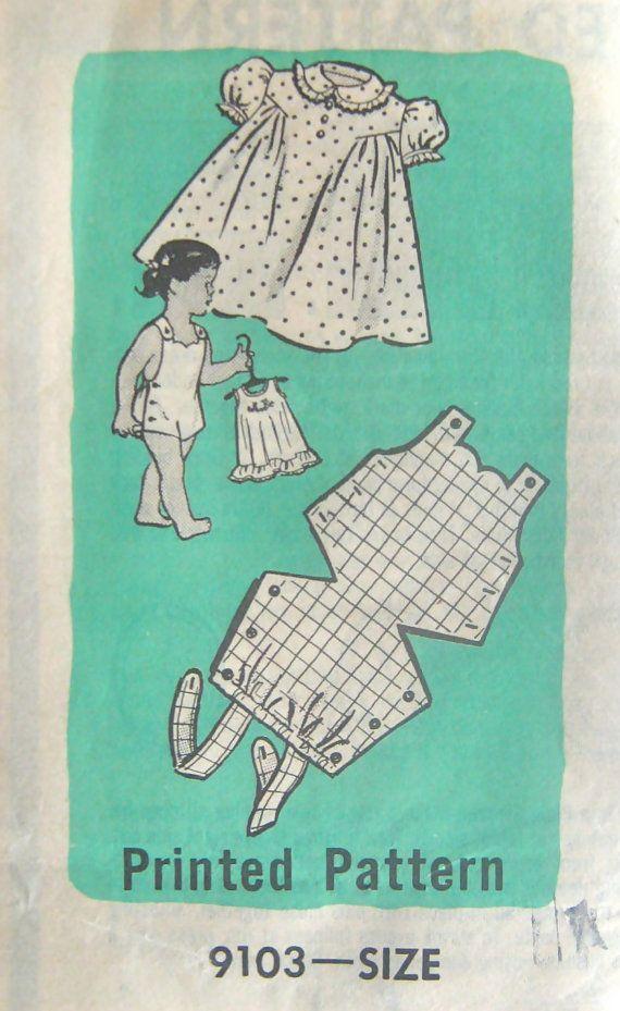 50s Vintage Marian Martin 9103 Pattern - Childs Sunsuit & Dress Mail Order…