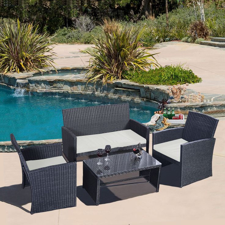 Goplus Goplus 4 PC Rattan Patio Furniture Set Garden Lawn Sofa Wicker  Cushioned Seat Black New. 74 best BACKYARD images on Pinterest   Ashley home  Bamboo tree