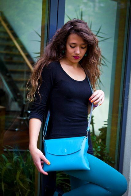 The Turquoise Mini Pop Up with shoulder strap. Buy this incredibly beautiful and versatile handbag from www.brightcolours.co.uk