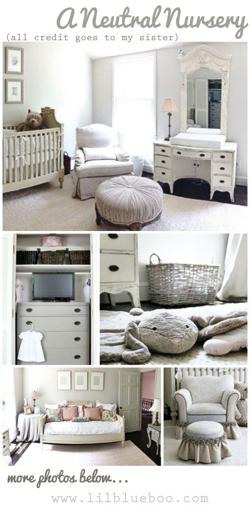 Neutral Nursery Decor Ideas - Restoration Hardware Inspired | Ashley Hackshaw / Lil Blue Boo.  Had a friends mom do this in Michigan 30+ years ago.  Was very nice.