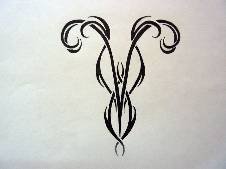 Black Tribal Aries Zodiac Tattoo Design