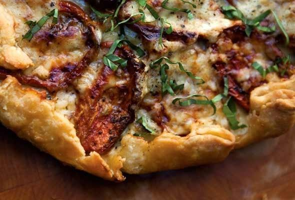 Roasted Tomato-Basil Tart with Cheddar