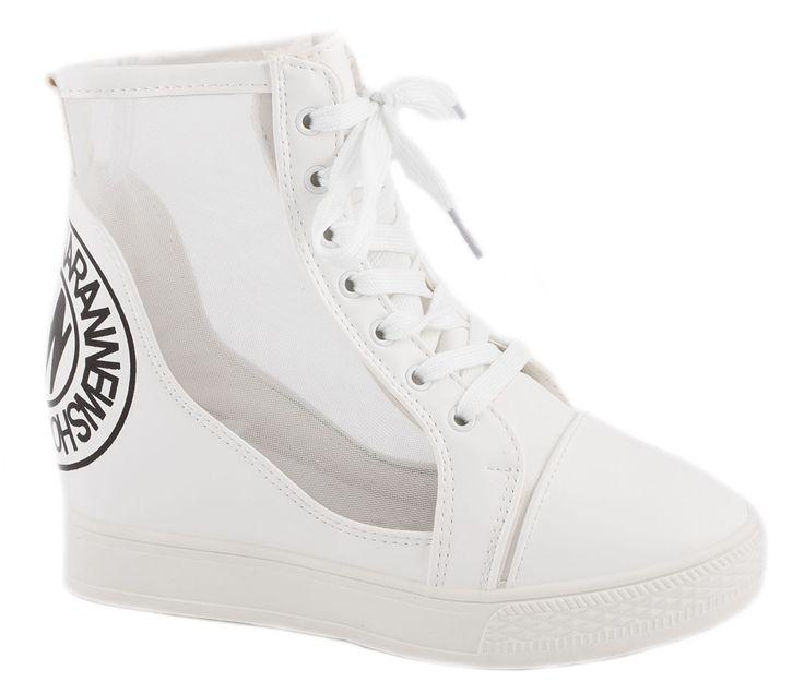 Sneakers albi de dama cu siret 91-2A - Reducere 67% - 19.99 Lei - Zibra