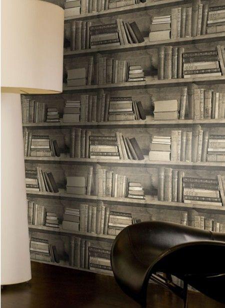 papier-peint trompe l'oeil bibliothèque sepia, livres classiques