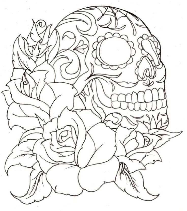 Sugar skull... Tattoos Pinterest Collage, Roses and