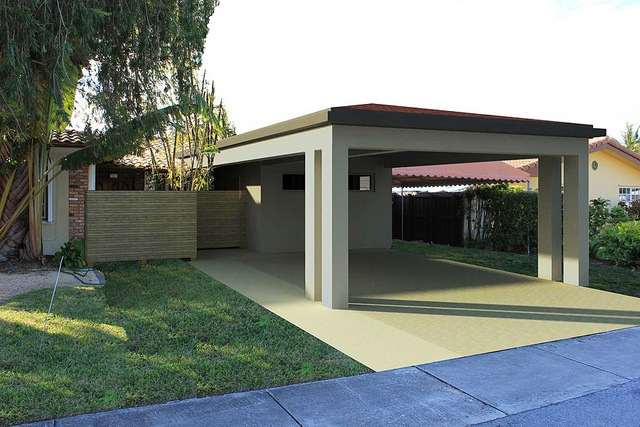 Front exterior rendering of porte cochere and man cave for Porte cochere piani casa