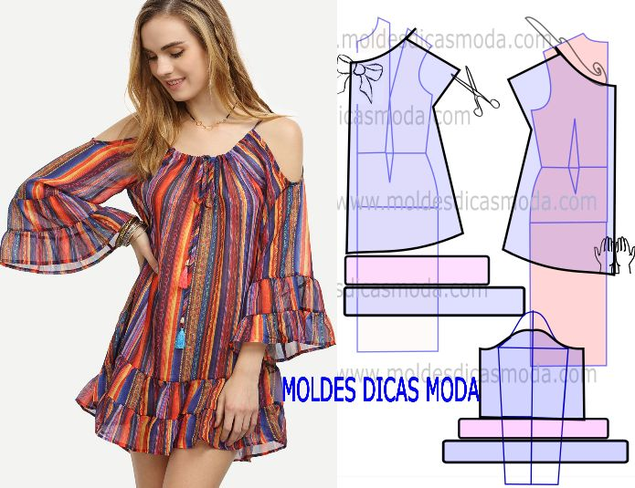 Faça a análise do desenho da transformação do molde de vestido de riscas…