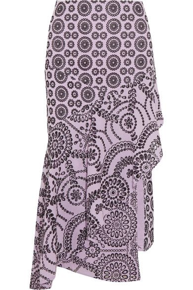 Topshop Unique - Cleary Asymmetric Broderie Anglaise Cotton Midi Skirt - Lilac - UK12