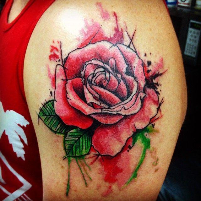 Watercolor Rose Done By Shaun Loyer @ Distinctive Body Art Studio in San Clemente CA Instagram @dba_tattoo