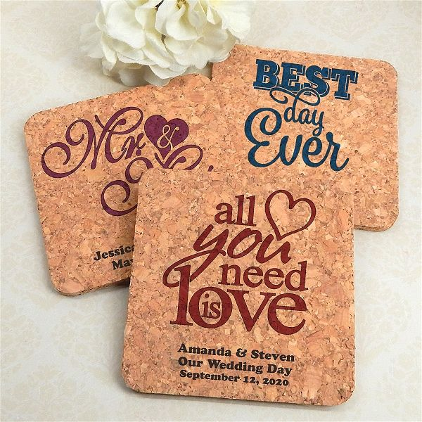Personalized Square Cork Coasters (Many Designs) (Designing Ducks 8409000) | Buy at Wedding Favors Unlimited (http://www.weddingfavorsunlimited.com/personalized_square_cork_coasters_many_designs.html).