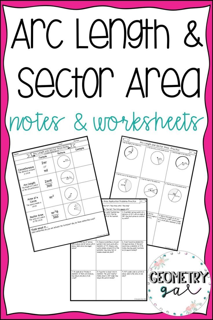 Arc Length And Sector Area Guided Notes And Worksheets With