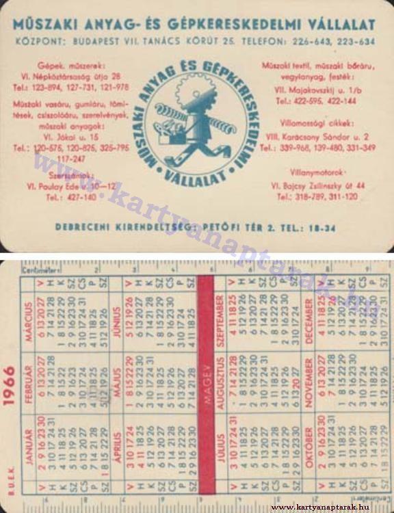 1966 - 1966_0096 - Régi magyar kártyanaptárak