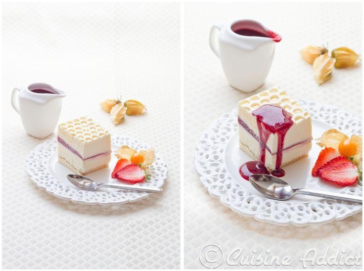 White Chocolate, Raspberry & Mascarpone Mousse cake / Crémeux Yaourt/Chocolat blanc, Sabayon Mascarpone & Framboise gélifiée