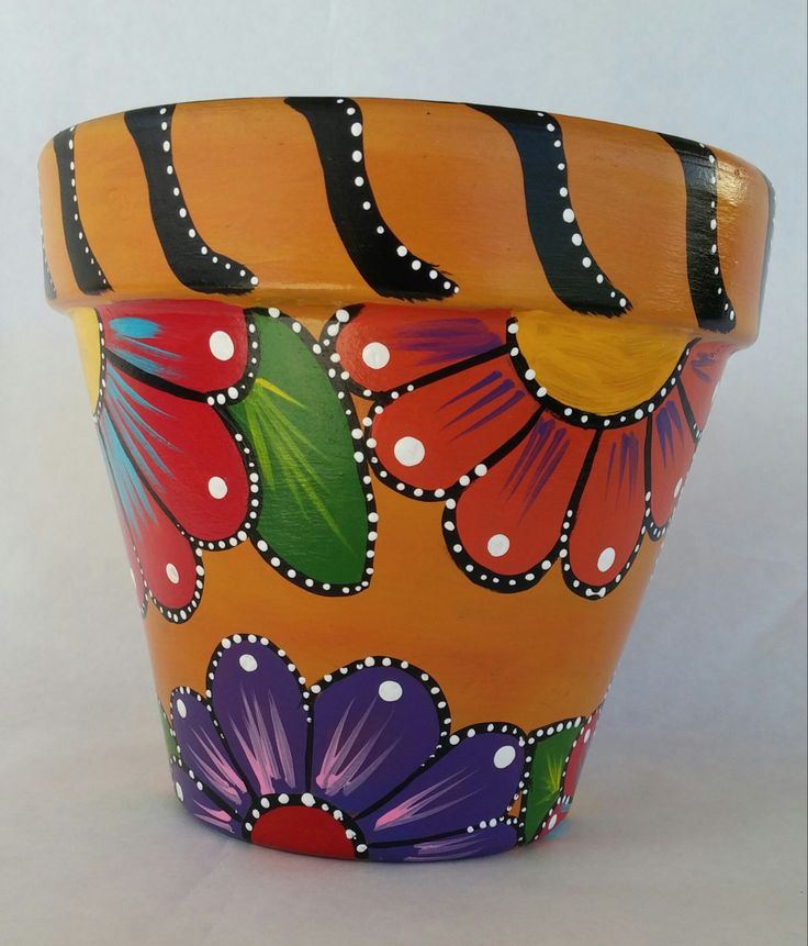 Painted clay pot, hand painted flowerpot, patio decor, painted pottery, flower…                                                                                                                                                                                 Más