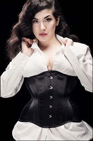 Black satin coutil Ready To Wear Underbust Corset by Starkers Corsetry