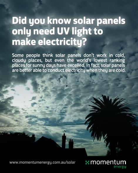 Research suggests solar panels are effective even in the coldest, darkest reaches of the planet…like Melbourne! #mythbuster #didyouknow #infographic