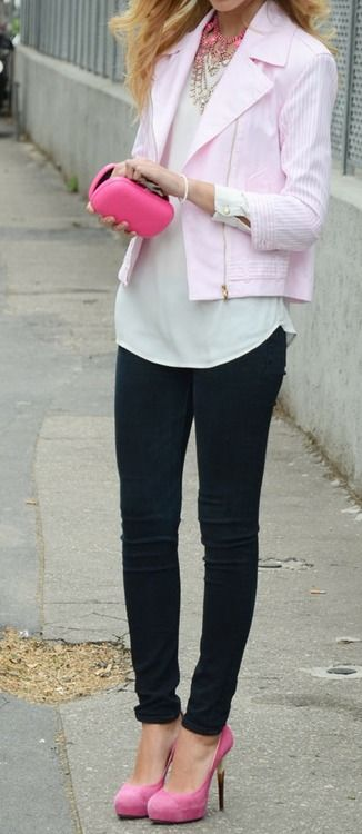 Black skinnies with pink: Cute Heels, Blondes Salad, Fashion Outfit, Personal Styles, Soft Pink, Pink Outfit, Pink Pumps, Fashion Inspiration, Pink Shoes