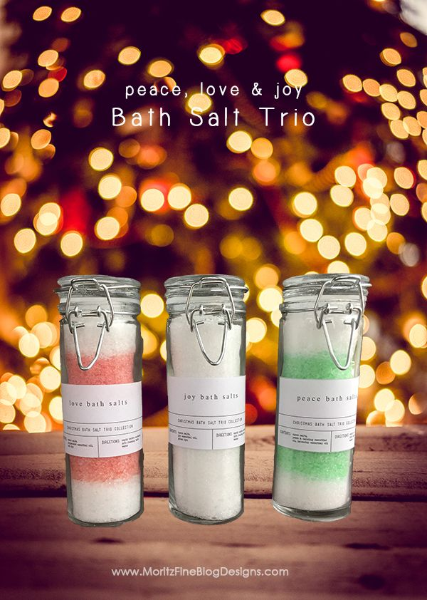This Holiday Bath Salt Trio Collection is easy and quick to make. It's the perfect gift for girlfriends, neighbors, teachers and more!