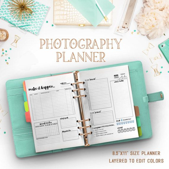 "INSTANT DOWNLOAD -- *No physical item will be shipped    ::ABOUT::  As a photographer, there's many things that go into becoming successful. The biggest thing though is creating systems and staying on top of business. As a photographer myself, I've never found a planner that actually fit my needs as a photographer. That's why I designed this planner, to track the things that matter most!      ::DETAILS::  •8.5""x11"" design that can be printed where you want. I recommend www.9centcolorcopies.com."