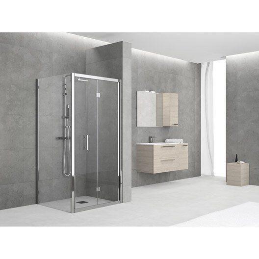 Porte de douche pliante SENSEA Elyt, verre de sécurité transparent