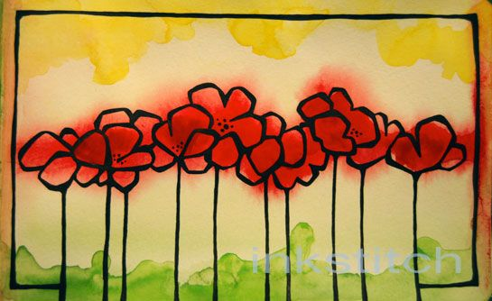 poppies....paint first and then outline :-)