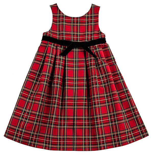 Florence Eiseman Girls Red Black Christmas Tartan Plaid