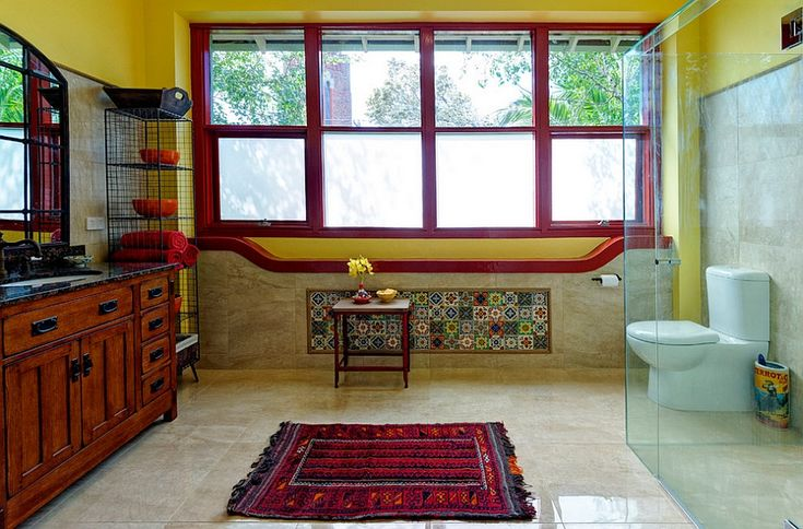 like the striking red border at the base of the window which might turn out quite handsome for the platform by the balcony that we are intending to build --- --- pix from Dashing Mediterranean style bathroom in red and yellow [Design: Better Bathrooms & Kitchens]