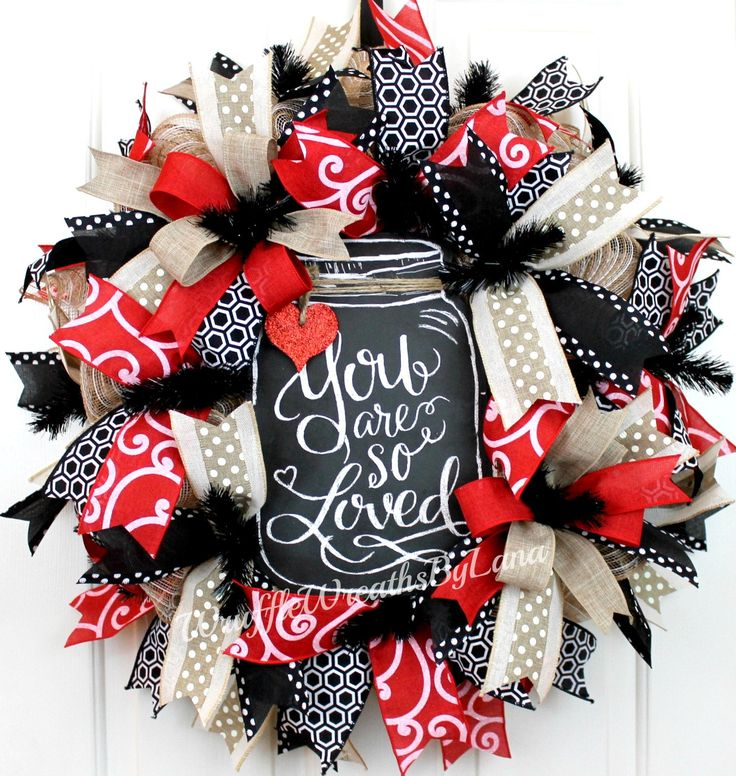Everyday Deco Mesh Wreath, Valentineu0027s Day Wreath, Mason Jar Wreath,  Everyday Wreath,