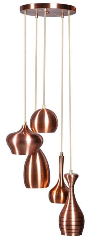 ETH Ajaccio - Hanglamp - 5 Lichts - 40 cm - Roodkoper