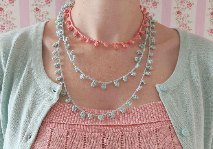 byHaafner, ganchillo, collar, en colores pastel