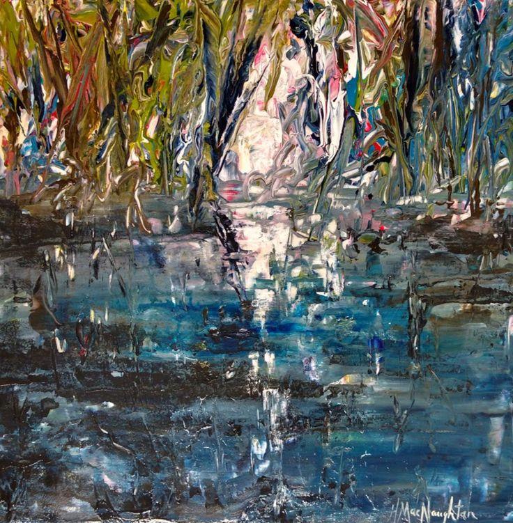 Light Through the Trees 12x12 inches ~ Acrylic on canvas painting by Hanna MacNaughtan